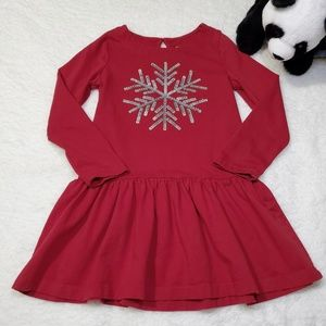 Gymboree Girls Red Dress with Snowflake
